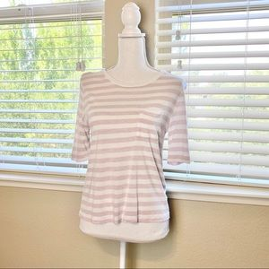 Gap - pink and white striped scoop neck tee